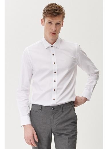 Beymen Business Slim Fit Armürlü Gömlek 4B2021100045 Beyaz